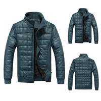 Solid Stand Collar Ribbed Trim Zippered Jacket