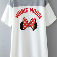Minnie Mouse Print Short Sleeve Shirt Dress