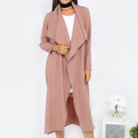 Mauve Long Sleeve Duster Coat