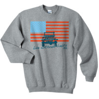 "All Things Jeep - Jeep ""American Flag / Live without Limits"" Gray Crewneck Sweatshirt"