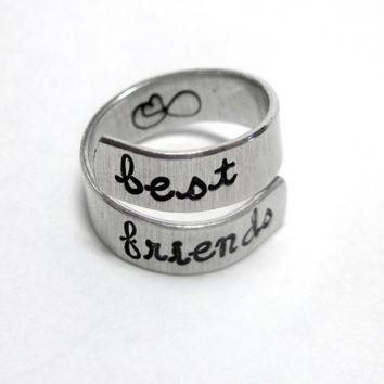Best Friends Forever - Hand Stamped Aluminum Wrap Twist Ring - Gifts Under 20