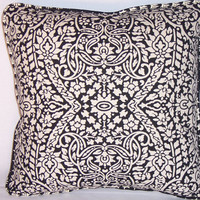 "Filigree Medallion Throw Pillow Black and White 16"" Square Insert Included Ready Ship Complete Cushion Reversible Leaf Cotton Welted"