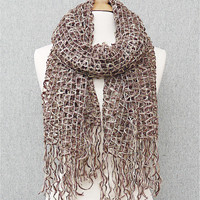 Taupe Mess Knit Scarf with Fancy Fringe