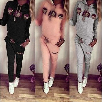 MASS21 2Pcs Womens Casual Sport Tops Sweatshirt+Pants Sport Suit Sweat Suits Tracksuit 3Colors [9305810183]