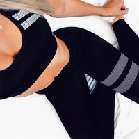 Fashion Brand Sporting Tracksuit 2018 Women Fitness Vest Leggings Sets High Waist Striped Casual Pants Set Knitted Tracksuit