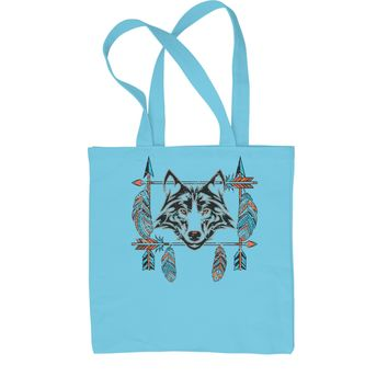 Native American Wolf And Feathers Southwest Shopping Tote Bag