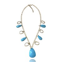 Plastic Oval Bead Metal Chain Necklace