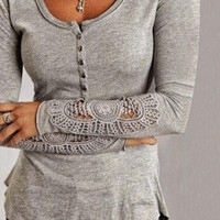 Korean Women's Fashion Slim Round-neck Long Sleeve T-shirts Lace Plus Size Bottoming Shirt [6048644289]