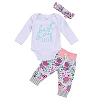 born Baby Boys Girls Clothing Long Sleeve Romper + Pants +Headband Outfits Set Clothes