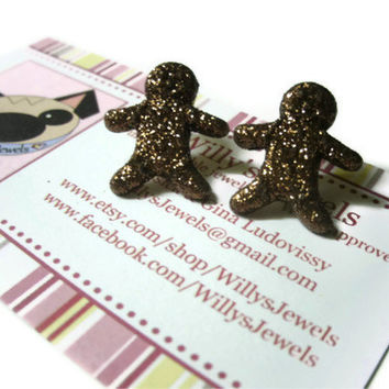 Gingerbread Man Earrings, Brown Glitter Coating, Gold Toned Nickel Free Brass Posts