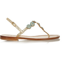 Musa - Swarovski crystal-embellished metallic leather sandals