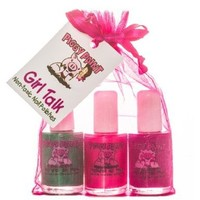 Piggy Paint Girl Talk, Glamour Girl (purple polish with silver glitter), Forever Fancy(sparkly bright pink), Ice Cream Dream (dark green) Gift Set Non-Toxic Nail Polish