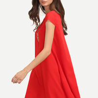 Red V Neck Cap Sleeve Casual Shift Dress