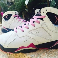 DCCKIJ2 Womens Air Jordan 7 Retro High GS Fuchsia Glow 442960-127 Basketball Shoes White Purple