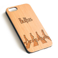 Abbey Road Natural wood handmade precise laser engraved iPhone case WA006