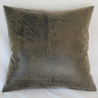 "Brown Faux Leather Pillow Cover, 17"" Square, Vegan Hide, Rustic Distressed Look, Ready Ship"