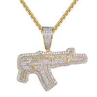 AK-47 Machine Gun 14k Gold Finish Bling Rapper Pendant