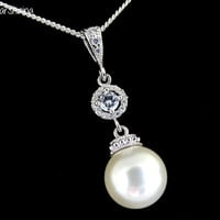 Bridal Necklace WHITE Pearl pendant White Pearl Sterling silver Necklace Single pearl Necklace Bridesmaids Gift Cubic Zirconia