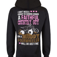 Hoodie: Faithful Country Guy on a Muddy Fourwheeler