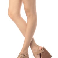 Natural Faux Leather Buckle Up Wedges