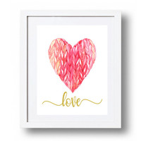 Nursery Heart printable Hot pink heart art print Pink and gold Love print Watercolor heart wall art poster DOWNLOAD 5x7 8x10 11x14 16x20