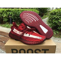 Yeezy 350 Boost V2 Adidas Fashion Women Men Casual Running Sport Shoes Sneakers Red Zebra