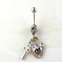 New Charming Dangle Crystal Navel Belly Ring Bling Barbell Button Ring Piercing Body Jewelry = 4804907588