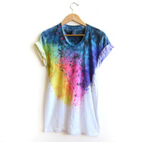 "The Original ""Splash Dyed"" Hand PAINTED Scoop Neck Pinned Rolled Cuffs Tee in White Spectrum Rainbow - S M L XL 2XL 3XL"