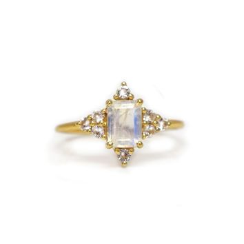 Rainbow Moonstone & Topaz Be My Guide Ring