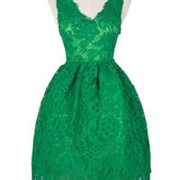 Green Square Neck Crochet Lace Homecoming Dress