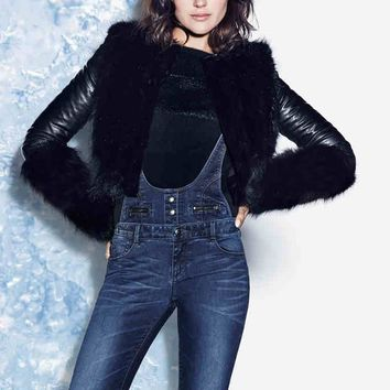 New Fashion Womens Winter Coats Female Long Sleeve Casual Slim Short Motorcycle Jacket Leather Faux Fur Solid Cardigan Outwear
