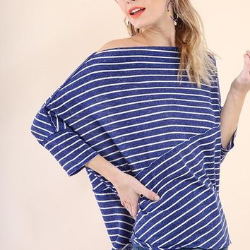 Striped Batwing Straight Neck Top