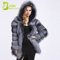 BHUNATI Fashion Winter Women Faux Fur Coat Lady Single Breasted Fox Fur Jacket Female Long Sleeve Fur Coat With Warm Hood