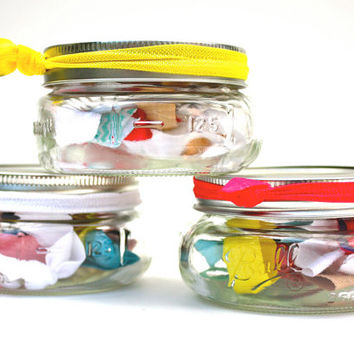 Mini Mason Jar Hair Ties - 10 Yoga Ponytails - Christmas Gift for Girls - Stocking Stuffer Tweens, Teens - Cute Gift - Hair Accessory Gift
