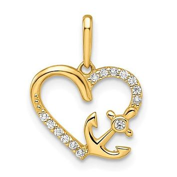 14k Gold Petite CZ with Anchor Heart Pendant
