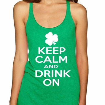 Keep calm and drink on women triblend tanktop
