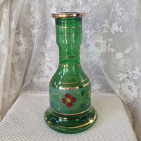 Persian Hookah Base Emerald Green Glass, Hand Painted Floral, Gold Trim