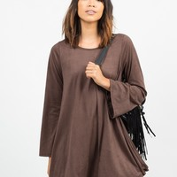Bell Sleeve Suede Dress