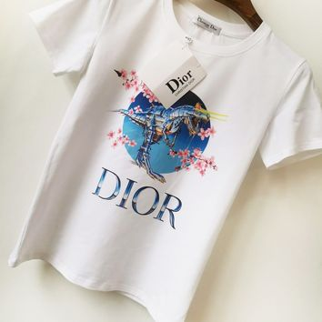 DIOR Fashion New Letter Floral Dinosaur Print Couple Sports Leisure Top T-Shirt White