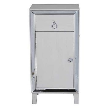 """22'.75"""" X 19"""" X 38"""" Antique White MDF, Wood, Mirrored Glass Cabinet with a Drawer and a Door"""