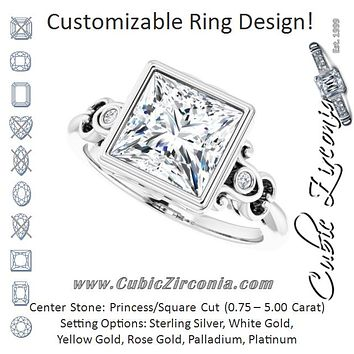 Cubic Zirconia Engagement Ring- The Viridiana (Customizable 5-stone Design with Princess/Square Cut Center and Quad Round-Bezel Accents)
