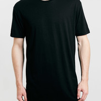BLACK OVERSIZED LONG LINE T-SHIRT - Topman