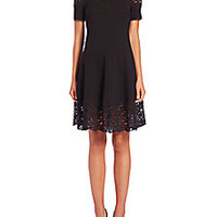 Rebecca Taylor - Short-Sleeve Lace Ponte Dress - Saks Fifth Avenue Mobile