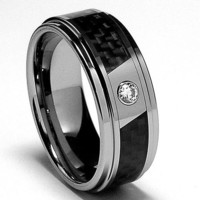 8MM Men's Tungsten Carbide Ring Wedding Band W/ Carbon Fiber Inaly and CZ sizes 7 to 13
