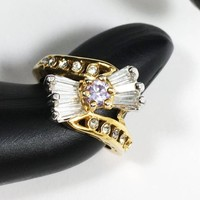 Rhinestone Dinner Ring Size 6 US Gold Tone Vintage Cocktail Clear Crystal Baguettes & Lavender Chaton Costume Jewelry