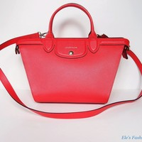 Authentic LONGCHAMP Le Pliage Heritage Medium Leather Satchel Bag Coral