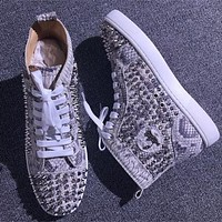 Christian Louboutin CL Louis Spikes Style #1895 Sneakers Fashion Shoes Best Deal Online