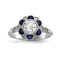 Sterling Silver White CZ & Lab-Created Blue Sapphire Flower Ring