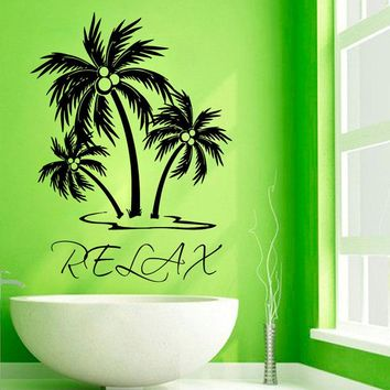 Relax Words Wall Decals Palms Tree Vinyl Wall Stickers Art Design Waterproof Bathroom Wall Decals Decor