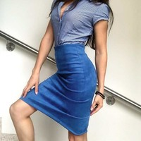 Vintage Womens Suede Pencil Skirts